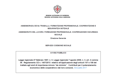 Contributi per il potenziamento economico delle cooperative (legge regionale n. 5/1957) – annualità 2017
