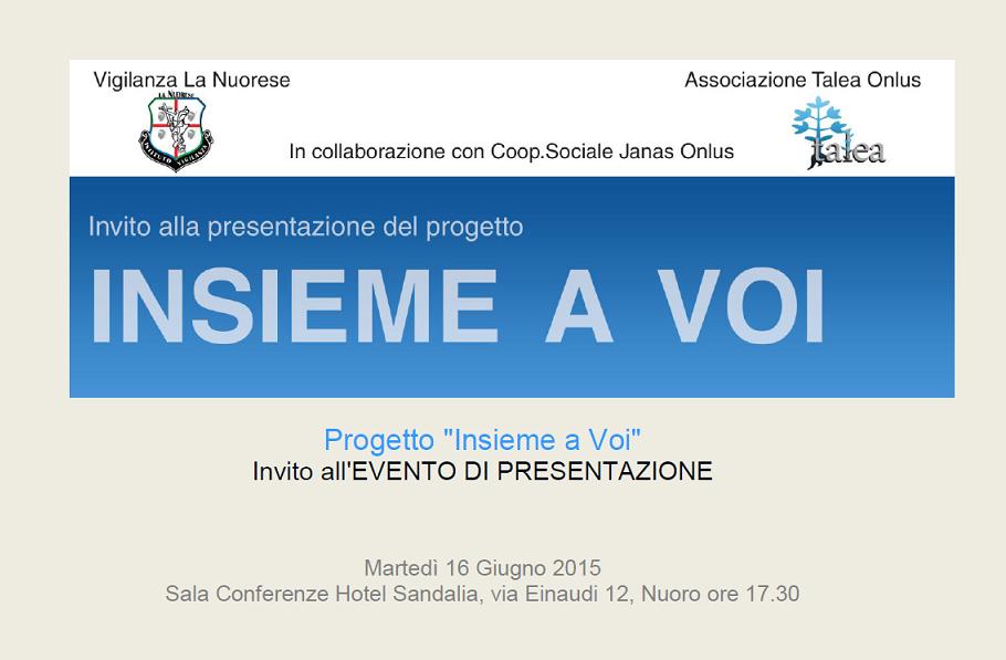 """Progetto """"Insieme a Voi"""", il 16 giugno l'evento di presentazione"""