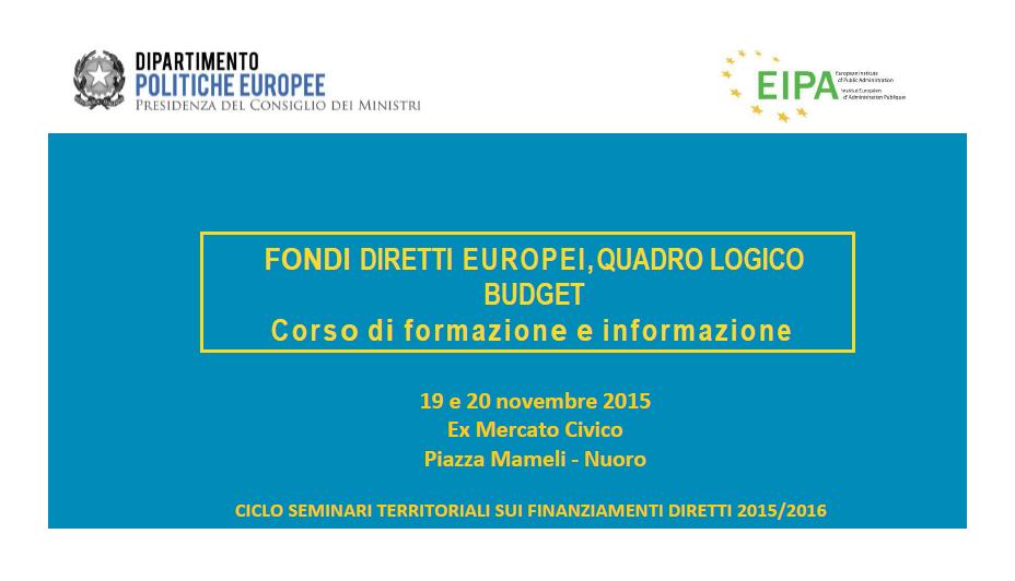 Nuoro, corso di formazione ed informazione sui Fondi Diretti Europei