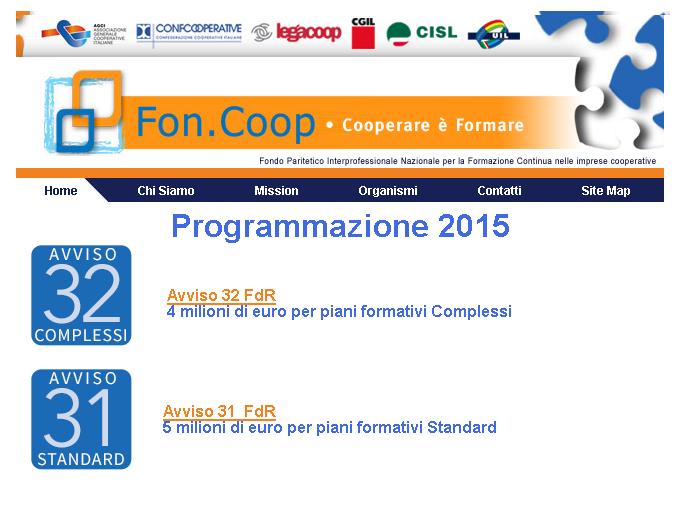 """Fon.Coop: pubblicati gli Avvisi 31 """"Piani formativi Standard"""" e 32 """"Piani formativi complessi"""""""