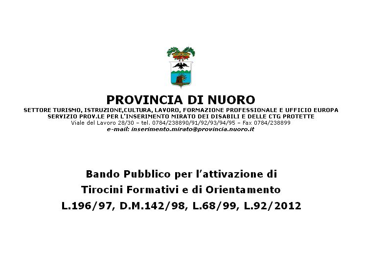 Provincia di Nuoro, bando per l'attivazione di tirocini formativi e di orientamento per diversamente abili
