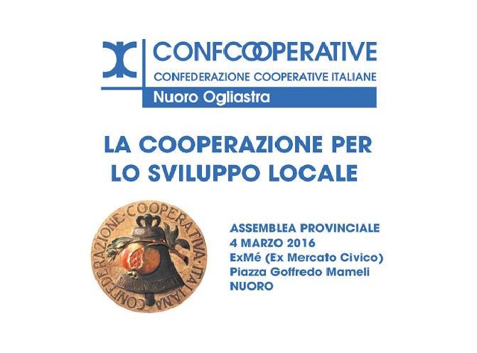 Cooperazione e Sviluppo Locale: il 4 marzo l'Assemblea Provinciale di Confcooperative Nuoro Ogliastra