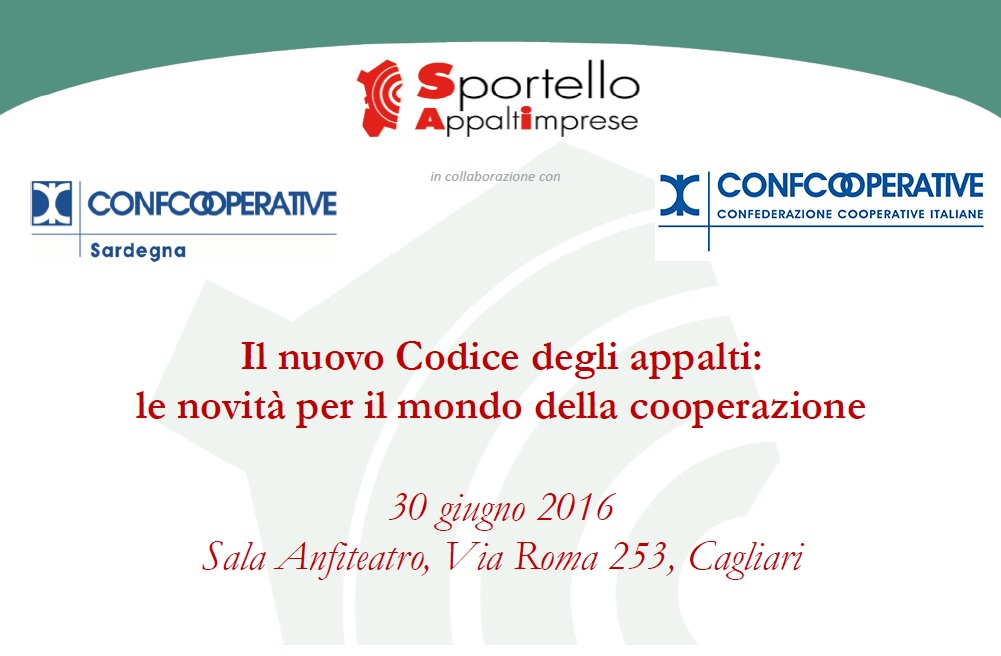 """Seminario """"Il nuovo Codice degli appalti: le novità per il mondo della cooperazione"""""""