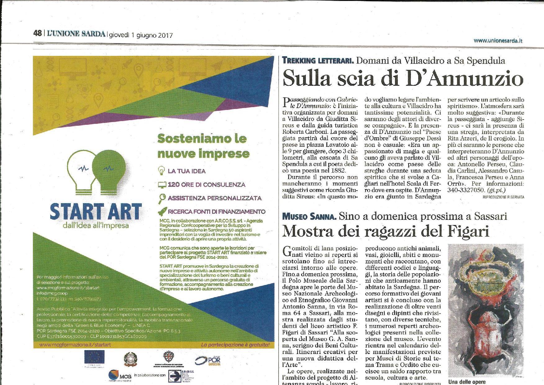 START ART- UNIONE SARDA.1.6.2017