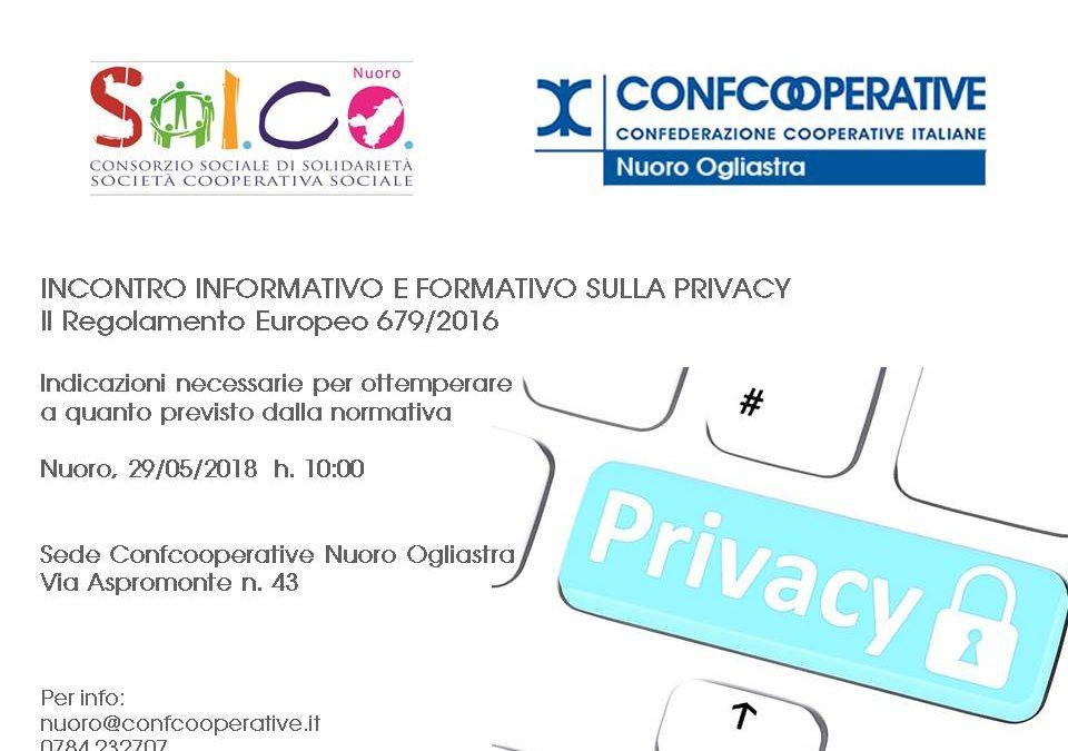 Il 29 maggio un incontro informativo e formativo sulla Privacy