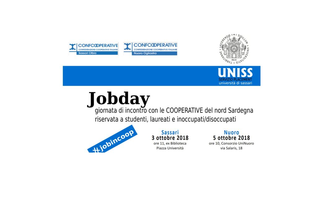 JOB DAY 2018 – Confcooperative e UNISS. Presentazione delle cooperative che parteciperanno
