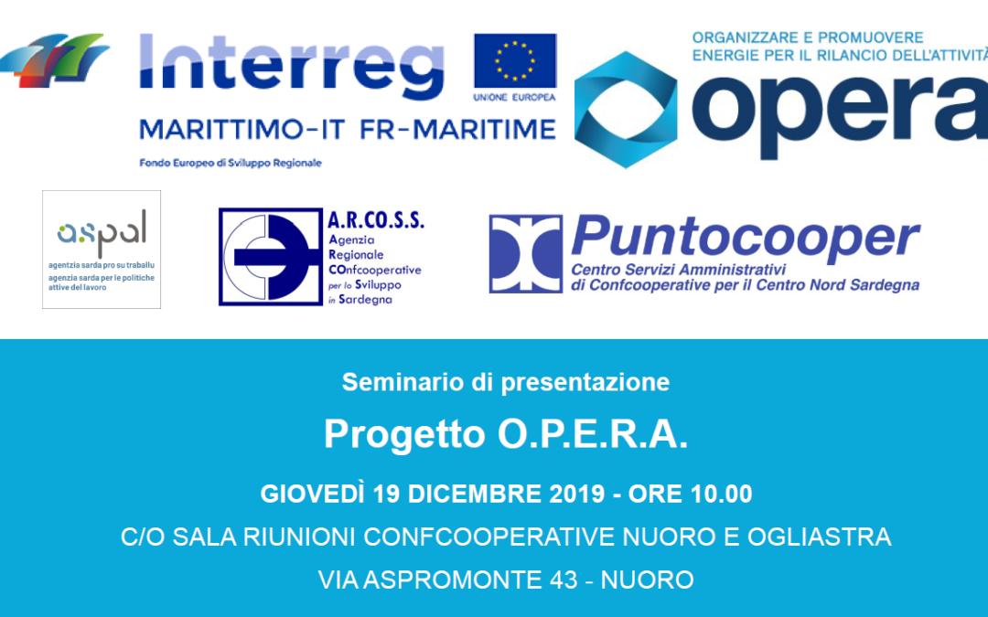 Seminario di presentazione del Progetto O.P.E.R.A.   Nuoro, 19 dicembre 2019