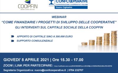 Come finanziare i progetti di sviluppo delle cooperative con COOPFIN | Seminario informativo online | 8 aprile 2021